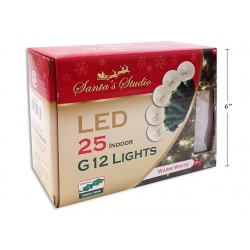 Christmas Indoor LED G12 String Lights - Warm White ~ 25pk / 5'
