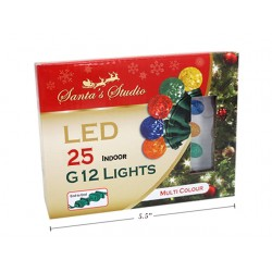 Christmas Indoor LED G12 String Lights - Multi ~ 25pk / 5'