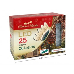 Christmas Indoor LED C6 String Lights - Warm White ~ 25pk / 5'