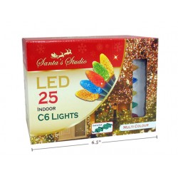 Christmas Indoor LED C6 String Lights - Multi ~ 25pk / 5'