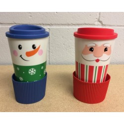 Christmas Double Wall Printed Coffe Mug with Silicone Band ~ 16oz
