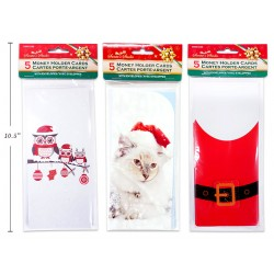 Christmas Glitter Money Holder Cards ~ 5 per pack