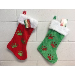Christmas Velour Glitter Paw Patch Pet Stocking w/White Cuff ~ 18""