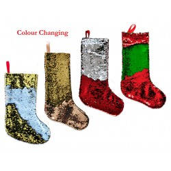 "Christmas Felt Sequin Color Changing Stocking ~ 19""L"