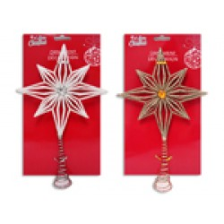 Christmas Mini Tree Star with Glitter Tree Topper ~ 8-5/8""