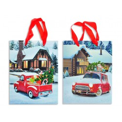 Christmas Medium Gift Bag ~ Log Cabin with Glitter Vintage Vehicle