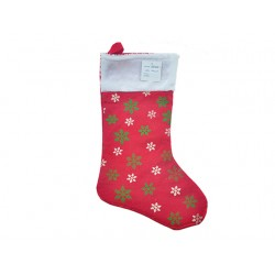 "Christmas Red Tinsel Snowflake Print Stocking ~ 19""L"