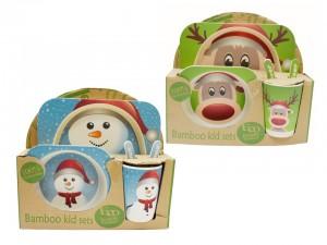 Christmas Bamboo Fibre Kid's Dinner Set ~ 5 piece set