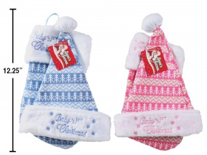 """Christmas Baby Hat & Stocking Set ~ Embroidered with """"Baby's 1st Christmas"""""""