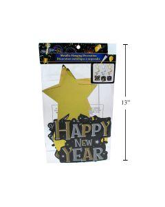 "New Year's Metallic Hanging Swirly Decorations - 15.5""L ~ 3 per pack"