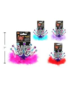 New Year's Light-Up Flashing Tiara with Feathers