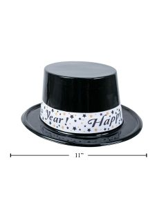 New Year's Black Plastic Top Hat with Banner