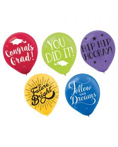 "Grad Multicolor Printed Latex Balloons - 12"" ~ 15 per pack"