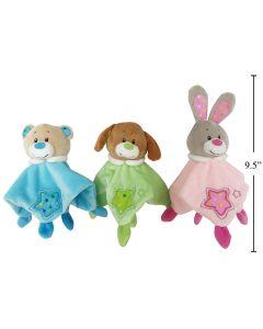 """Velvety Soft Animal Baby Cuddler - 8"""""""
