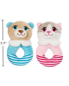 "Cuddly Buddy Soft Dog/Cat Baby Rattle - 5.5"""