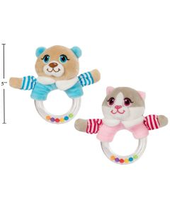 Cuddly Buddy Dog/Cat Baby Rattle with Beads