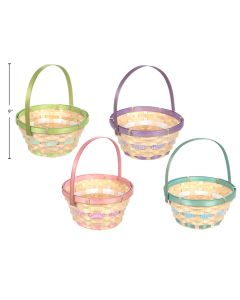 """Easter Bamboo Basket with Hinged Handle ~ 7.5""""D"""
