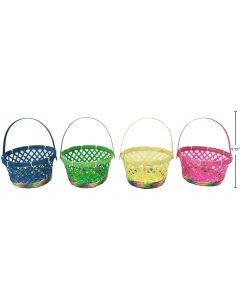 """Easter Diagonal Woven Bamboo Basket with Moveable Handle ~ 8.75""""D"""
