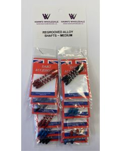 Regrooved Alloy Assorted Shafts - MEDIUM ~ 12 per card