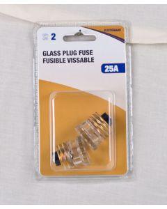 Glass Plug Fuse - 2 per pack ~ 25AMP