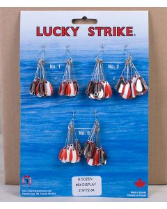 Lucky Strike #54 - Red & White Oval Spinners ~ 6 dozen per display