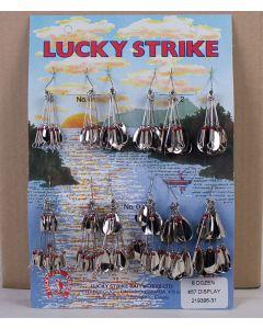 Lucky Strike #57 - Single & Double Nickel Oval Spinners ~ 8 dozen per display