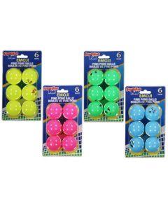 Ping Pong Balls - Emjoi Face Bright Colors ~ 6 per pack