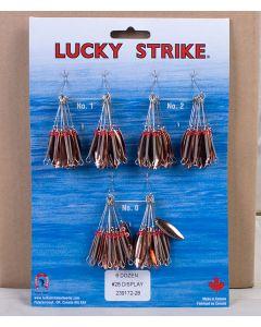 Lucky Strike #28 - Red Spot Single Willow Leaf Spinner ~ 6 dozen per display