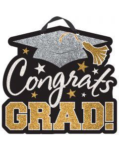 """Graduation """"Congrats Grad"""" MDF Sign w/Glitter & Ribbon"""