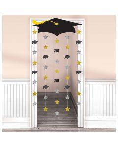 Graduation Cap Doorway Curtain ~ Gold, Silver, Black