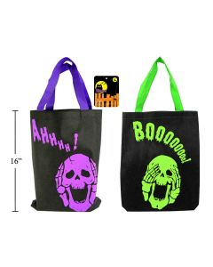 """Halloween Skull Design Non-Woven Trick or Treat Bags - 13"""" x 16.5"""" ~ 2 per pack"""