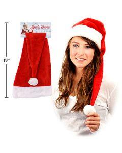 "Christmas Extra Long Santa Hat with Plush Trim and Pom Pom ~ 26.5""L"