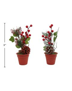 """Christmas Plant with Pinecone & Berries ~ 8"""""""