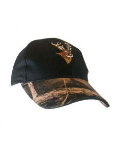 Black Cap w/Camo Peak & Deer Embroidery