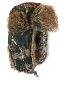 Jackfield Camo Fur Hat w/Ear Flaps & Chin Strap
