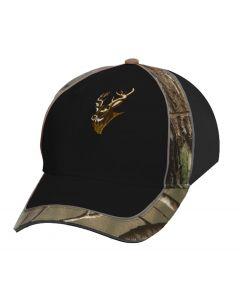 Black Cap w/Camo & Deer Embroidery