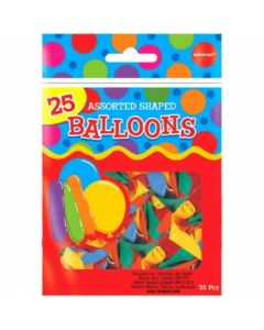Assorted Shaped & Color Balloons ~ 25 per pack