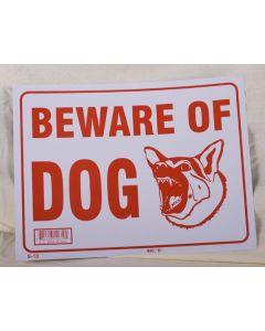 "PVC Sign - 9"" x 12"" ~ Beware of Dog"