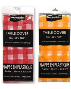 """Plastic Tablecover Gingham Pattern ~ 54"""" x 108"""""""