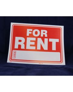"""PVC Sign - 9"""" x 12"""" ~ For Rent"""