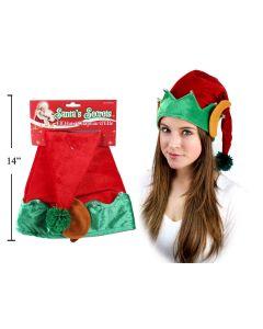 Plush Elf Hat w/Ears & Bells