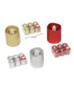 Christmas LED Glitter LED Votive ~ 6 per pack
