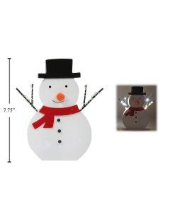 "Christmas 10-LED Wooden Snowman Tabletop Decor ~ 7.75"""