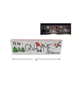 "Christmas LED MDF Gnome Sign ~ 3.5"" x 11.8"""