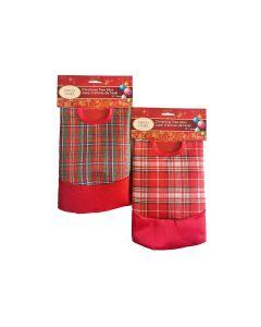 "Christmas Plaid Mini Tree Skirt ~ 17.7"" Dia"