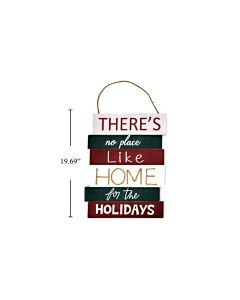 """Christmas MDF Wall Sign - There's No Place Like Home ~ 10.5"""" x 19.5"""""""
