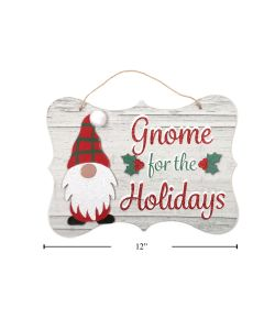 """Christmas MDF Wall Plaque - Gnome for the Holidays ~ 12"""" x 8.75"""""""