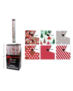 """Christmas Reversible Roll Wrapping Paper - 30"""" x 90"""" each roll x 3 rolls per pack"""