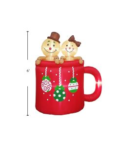 Christmas Airblown 4- LED Light-Up Gingerbreads in Cup ~ 6'