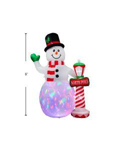 Christmas Airblown 3- LED Light-Up Snowman ~ 8'